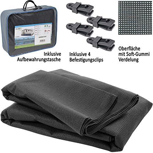 Bocamp Vorzeltteppich Soft 250x450 - ZUSCHNEIDBAR - ohne Ausfransen - formfest - weich - grau - leicht - waschbar - mit Aufbewahrungstasche und Befestigungs Clips - Camping Wohnwagen Teppich Zelt