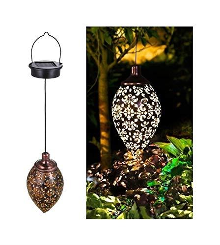 Luces solares para colgar al aire libre, linternas solares retro IP65 Luces de jardín a prueba de agua Luces de paisaje con energía solar Lámpara colgante de metal con encendido / apagado automático