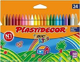 BIC Kids Plastidecor- Blíster de 24 unidades, ceras de colorear para niños - colores vivos surtidos, ideal para...
