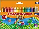 BIC Kids Plastidecor- Blster de 24 unidades, ceras para colorear, colores surtidos