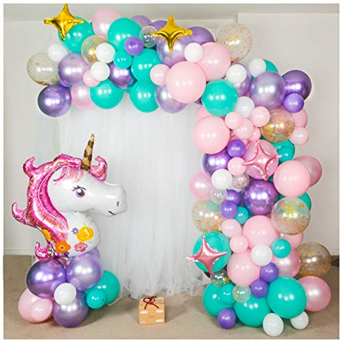 Shimmer and Confetti | 155pc Unicorn Balloon Arch Decoration Kit | Balloon Bouquet Kit | Balloon Garland Kit | Organic Balloon Decor