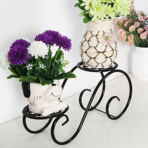 FZN Fauteuil de table de bureau créatif Modern Racks de fleurs simple Multi - étagères étagère Bureau Fer fleur Stand Flower Stand Pots de fleurs (Couleur : Noir)