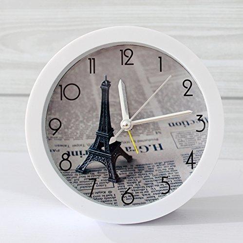 Elegante y Estilo innovador pequeño alarma Sit periódicos Raymond Torre Eiffel en París para jong-time reloj dormitorio estudio Mute