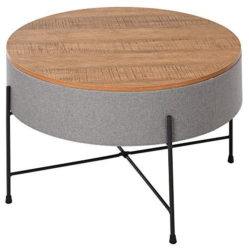 homcom Tavolino da caffè Rotondo per Soggiorno con Vano Contenitore in Metallo, Legno e Lino, Stile Vintage, Φ60x40cm