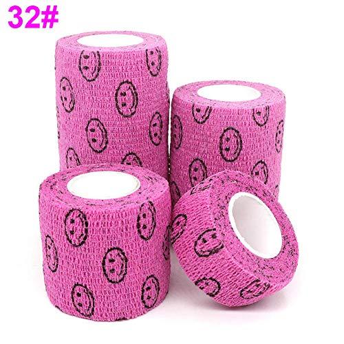 XXYQ 1 STK. Elastischer Verband Elastoplast 4,5 m Sport Buntes selbstklebendes Wickelband für das Fingergelenk Knie Pet-32 Kleiner Smiley Pink_L