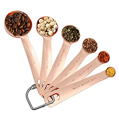 Measuring Spoons Copper - Separate Ring Bonus - Set of 6 for Dry and Liquid Ingredients - Stainless Steel Never Rust - Perfect for Baking, Cooking, Brewing, Godmorn