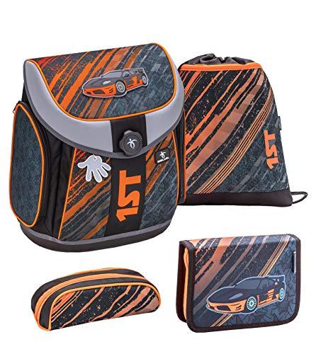 Belmil ergnomischer Schulranzen Set 4 - teilig für Mädchen 1, 2, 3, 4 Klasse Grundschule/Magnet Verschluss/Leicht 930-1000 g/grau-orange Auto Car(1st Car)