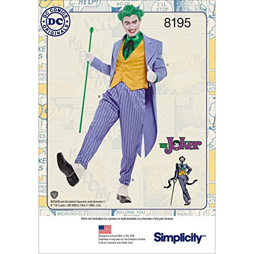 Simplicity 8195 DC Comics Men's Joker Halloween and Cosplay Costume Sewing Pattern, Sizes 38-44