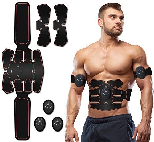 EMS Trainingsgerät,Muskelstimulator Bauchmuskeltrainer Muskelstimulation Elektrostimulation Muskeltrainer Bauchtrainer Muskelstimulator Bauch Massagegerät Muskelaufbau und Fettverbrennungn (schwarz-a)