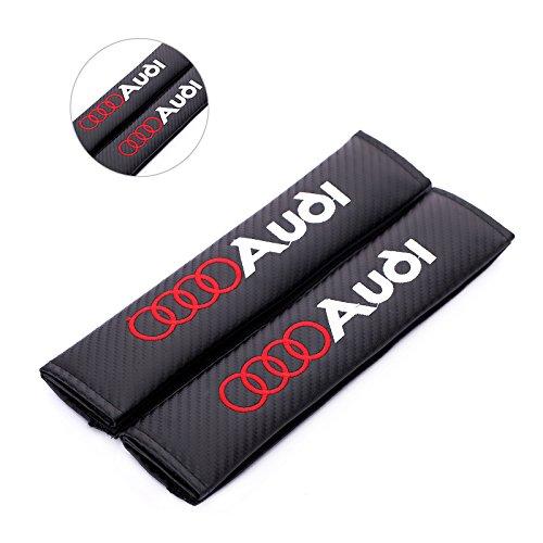 Fireman's Pair New Carbon Fiber Seat Belt Cover Shoulder Pad Cushion for A4L A3 A6L Q3 Q5 A1 A6 A7 A8L Q7 S3 S5 RS3 RS6 RS7 tts tt rs All Model Black (&.u.d.i Logo)