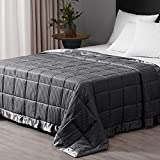 downluxe Weighted Blanket - King Size Weighted Blanket 18lb Blankets for Adult with Glass Beads,Heavy Blanket with Satin Trim (90 x 108 inch, Grey)