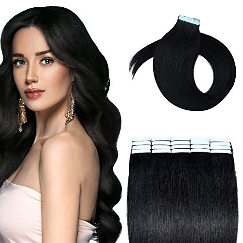 HAIRREAL Tape in Hair Extensions Remy Human Hair Seamless Skin Weft Straight Hair 50g/Pack 22 Inch 20Pcs Hairpiece 1# Jet Black