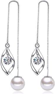 Elegant 925 Sterling Silver Threader Tassel Earrings Pearl Ball Drop Long Chain Earrings Wedding for Women and Girls