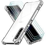 ivoler Funda para Sony Xperia 1 II con 3 Unidades Cristal Templado, Carcasa Protectora Anti-Choque Transparente, Suave TPU Silicona Caso Delgada Anti-arañazos Case