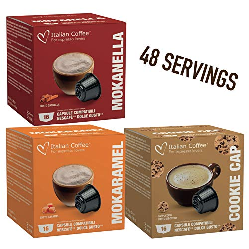 italian coffees Delicitaly capsules compatible with Nescafe Dolce Gusto machines - Caramel, Cinnamon, Cookies - 48 servings (Sampler, 3 flavors mix, 48 Pods)