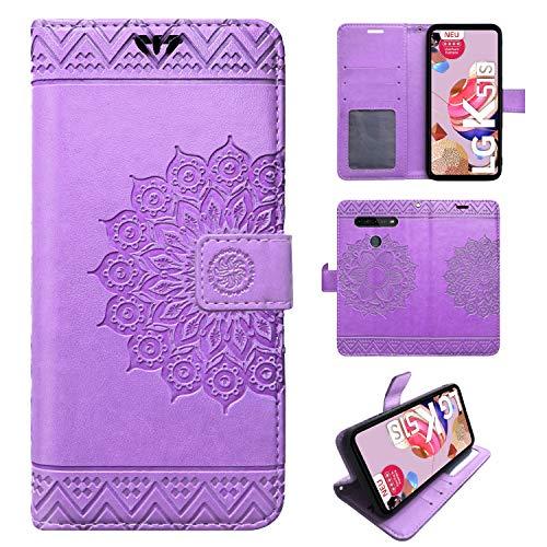 betterfon | LG K51S Hülle Handy Tasche Handyhülle Hülle Etui Schutzhülle mit Magnetverschluss/Kartenfächer für LG K51S Lila