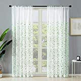 Sheer Curtains Leaf Embroidery Living Room Curtain Sheers 63 inches Long Bedroom Window
