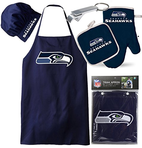 Seattle Seahawks (Apron & Oven Mitt Pot Holder), Free USB Chargers Cable, Barbeque Apron and Chef's Hat , NFL Licensed