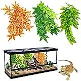 Pack de 3 Plantas para terrarios de Reptiles,Colgantes con Ventosa,Ideales para terrarios de Camaleones, Serpientes, lagartos, Tortugas y Todo Tipo de Reptiles. Juego de 3 Plantas para terrarios.