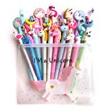 DzdzCrafts 10PCS Unicorn and Flamingo 0.5MM Rollerball Gel Ink Pens Black Ink in A Pen Pouch