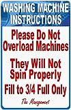 Amelia Sharpe - Cartello in metallo per lavatrici con istruzioni per la lavatrice 'Do not Overload', 30,5 x 20,3 cm