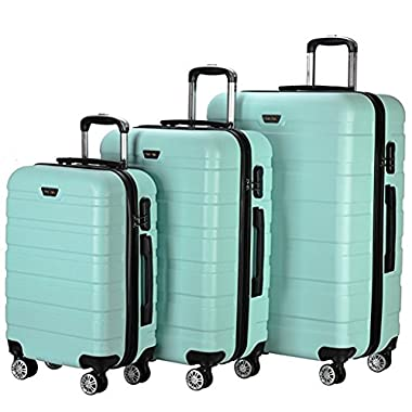 Resena 3 Pieces Hardside Spinner Luggage Sets Travel Carry On Suitcase (Green)