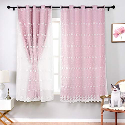 SerachI Pink Girls Blackout Curtains Double Layer Curtain, Kids Darkening Curtains Flower Embroidered Voile Mix Match Blackout Window Treatment Grommet Drapes for Girls Bedroom 1 Panel 42 x 63
