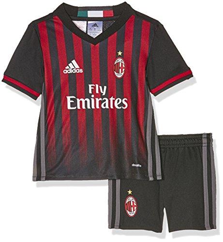 adidas Kinder Trainingsanzug AC Mailand Mini-Heimausrüstung Trikot, Black/Victory Red/Granite, 104