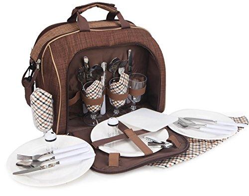 Brubaker picknicktas voor 4 personen duffelbag schoudertas met koelvak bruin 38 × 21,5 × 30 cm