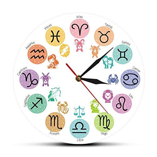 yage Reloj de Pared Decorativo con Signos del Zodiaco de Dibujos Animados, Reloj de Pared de Barrido de Cuarzo silencioso Colgante de Arte de Pared astrológico para habitación de Chico