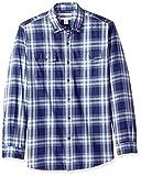 Amazon Essentials - Camisa de sarga con dos bolsillos y manga larga para hombre, Azul (Blue Plaid Bpl), US S (EU S)