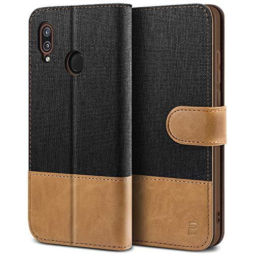 BEZ Hülle für Huawei P20 Lite Hülle, Handyhülle Kompatibel für Huawei P20 Lite, Handytasche Schutzhülle Tasche Case [Stoff und PU Leder] mit Kreditkartenhaltern, Schwarz