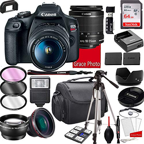 Canon EOS Rebel T7 DSLR Camera with 18-55mm f/3.5-5.6 is II Zoom Lens, 64GB Memory,Case, Tripod and More (28pc Bundle)