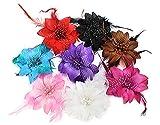BONAMART 8 Stück Haarclip Haarklipp Blumen Haarklammer Haarspange Ansteckblume Brosche Feder Haarschmuck Hochzeit