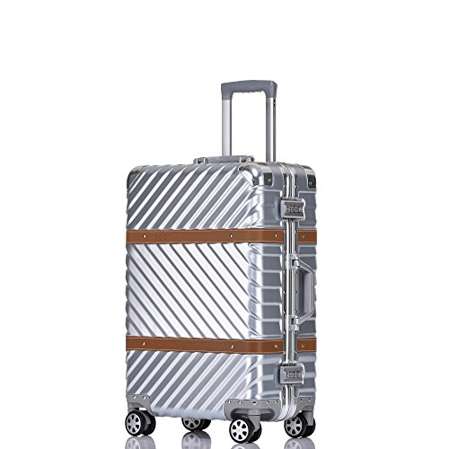 Aluminum Frame Luggage Hardside Fashion Suitcase with Detachable Spinner Wheels 24 Inch Silver