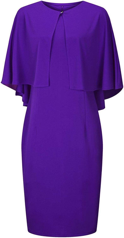 Phefee Women Sleeveless Cloak Pencil Dresses Elegant Plus Size Office Cocktail Cape Split Dresses
