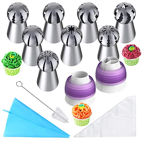 Russian Piping Tips, 32pcs Baking Supplies Set for Cake/Cupcake Decorating, 8 Russian Tips 2 Couplers 1 Reusable Silicone Bag 20 Disposable Pastry Bags and Free Cleaning Brush