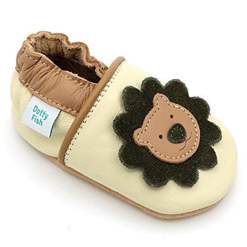 Dotty Fish weiche Leder Babyschuhe mit rutschfesten Wildledersohlen. 3-4 Jahre (27 EU). Creme und brauner Schuh mit Löwen Design. Jungen und Mädchen. Kleinkind Schuhe.
