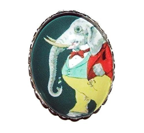 DAPPER ELEPHANT BROOCH PIN SilverPltd WELL Our shop SEAL limited product most popular GLASS with DRESS Dome