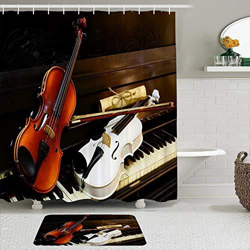 AXEDENRRT Set Tenda e tappetini Doccia in Tessuto,sui Tasti di Pianoforte Bianchi Sono spartiti Vintage per violini Bianchi e di Legno,Tende da Bagno idrorepellenti con 12 Ganci,tappeti Antiscivolo