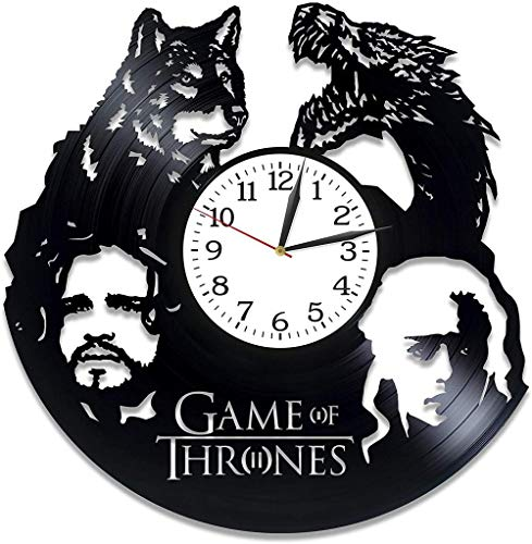 TIANZly Jon Snow y Ar Xmas The Game of Thrones Idea Room Art LP Vinyl Retro Record Wall Clock Retro Birthday For Game of Thrones People Clock Serial Art Wall Clock Big