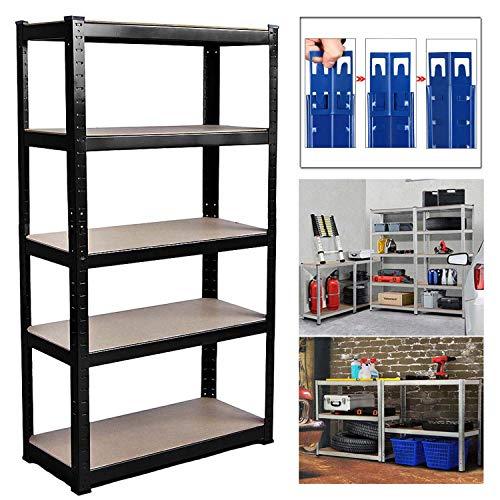 Shed Garage Shelving Unit for Storage, 180x90x40cm 5 Tier Storage Shelf Unit, Heavy Duty Metal Racking Workbench w/5 MDF Board, 875Kg Load Capacity(175Kg Per Shelf), Rubber Feet, Black