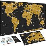 Carte du monde à gratter XXL (82 x 43 cm), Bonus Carte d'Europe, autocollant 3D, jeton et stylo de...