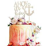 AZIWEIDecoración para tarta con diamantes de imitación Ahoy It's a Boy, 2, Dorado, 1 uds. por paquete, 1.00[set de ]
