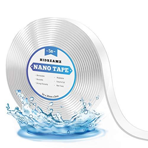Ruban Adhésif Nano Réutilisable, Ruban Adhésif Double Face Amovible, Lavable et Résistant pour Les Articles à Coller, Réparer Les Tapis (5M)