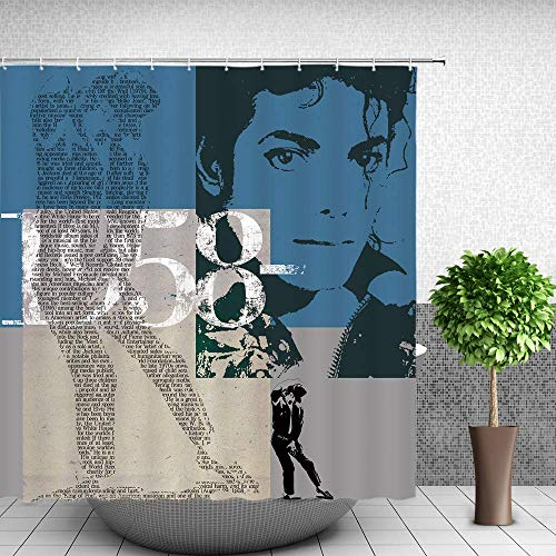 Zyduslio Michael Jackson Shower Curtain Poster Decor Retro Nostalgic Superstar Michael Jackson Fabric Bathroom Curtain 70x70Inches Waterproof Polyester with Hooks 60X72 Inch