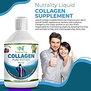 Nutrality Marine Collagen Peptides, 500 mL, Pure Liquid Marine Proteins with Hyaluronic Acid and Silica, 10,000mg of Type 1, Natural Fruit Juice Flavor