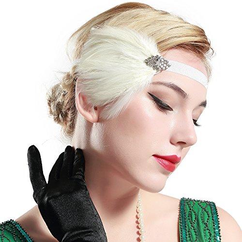 BABEYOND Bandeau Cristal Marriage avec Plume Année 20 Art Déco Gatsby Couronne Plume Accessoires Gatsby Flapper Bandeau des Année 1920 Serre-tête Simple Classique Partie à Thème, Blanc