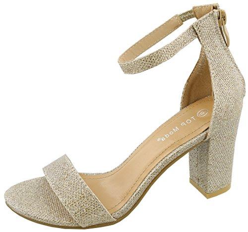 TOP Moda Womens Hannah-1 Platform Chunky Heel Metallic Glitter Party Ankle Strap High Heel Sandal,Champagne,7