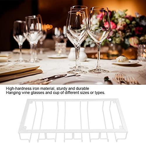 Soporte de vidrio, estante de vidrio de gran capacidad, exquisita mano de obra, barra de vinos para cocina, fiesta, comedor, sala de estar(white)